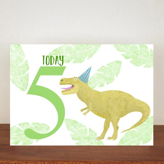 T Rex Childrens Birthday Card Personalised