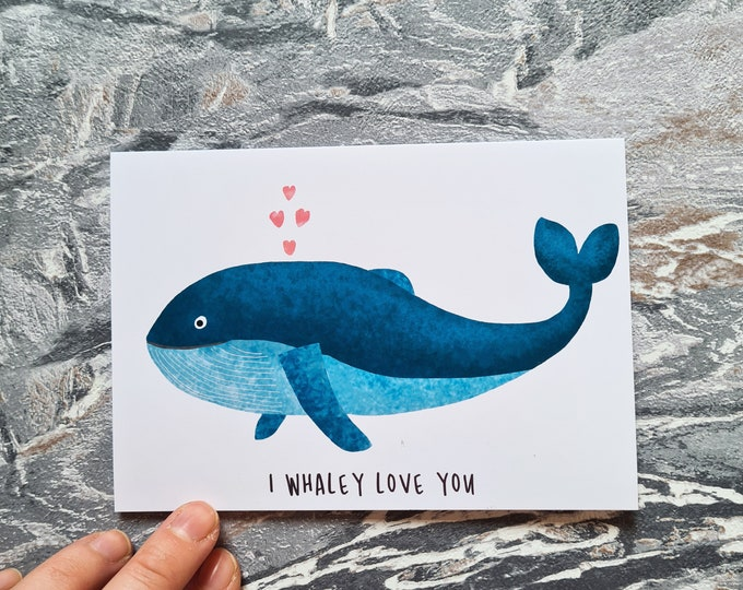 Whale Love Card, Misprint, Seconds, As is, Love Card, A6 in size (approx 105 x 148mm), Includes Envelope