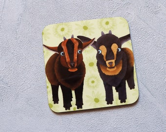 Pygmy Goat Coaster, Coaster, Drinks Coaster, Gifts for him, Gifts for her, Birthday Present, House Warming Present, Animal Coasters, Goat