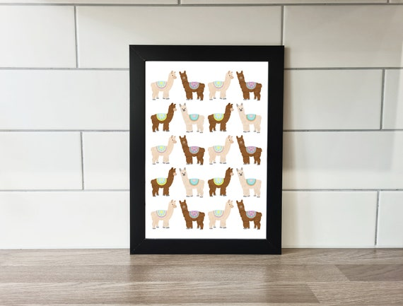 Llama print, llama, wall art, A4 Print, A3 Print, wall decor, illustration, art print by Rachel Gwen May