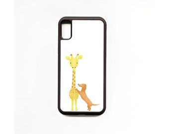 Giraffe and Dachshund Phone Case, Giraffe and Dachshund iphone Case, Animal Phone Case, Rubber Phone Case