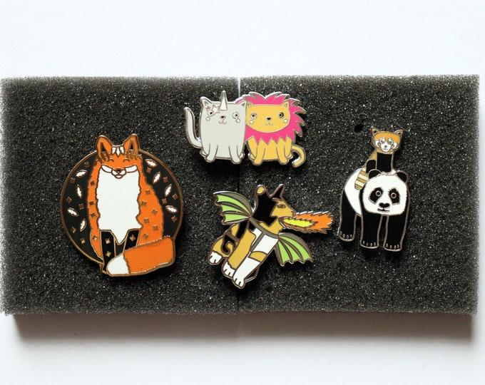 Discounted Misprinted / Defective Enamel Pin badge, Pin Badge, Cat Pin Badge, Fox Pin Badge, Panda Pin Badge