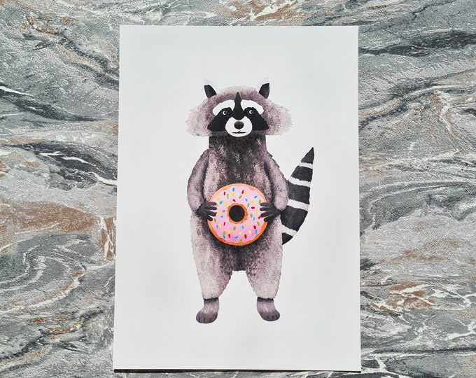Raccoon and Donut Print, A4 Print, Misprint, Seconds, As Is, Reduced Price
