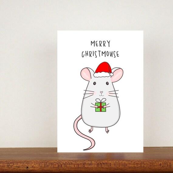 Merry Christmouse Christmas Card, Greeting Cards, Christmas Card, Mouse Card, Mouse, Animal Pun Card, Animal Christmas Cards