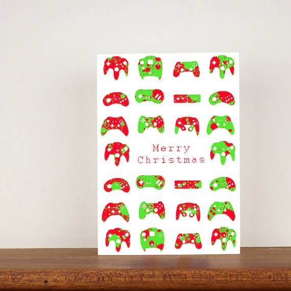 Gamer christmas card, Gamer cards, modern design, greeting cards, boys christmas card, mens christmas card