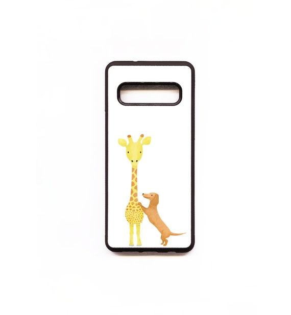 Giraffe & Dachshund Phone Case, Giraffe Samsung phone Case, Illustration, Animal Phone Case, Rubber Phone Case, Plastic Phone Case