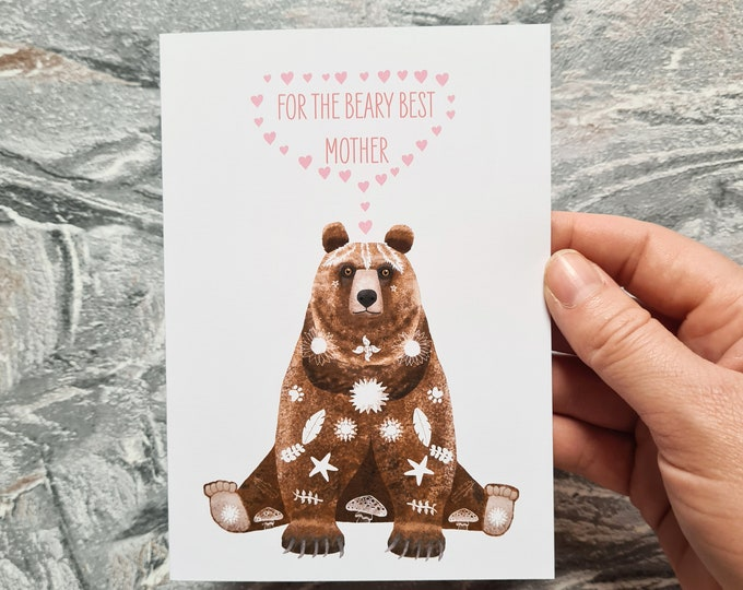 Bear Mothers Day Card, Misprint, Seconds, As is, Mothers Day Card, A6 in size (approx 105 x 148mm), Includes Envelope