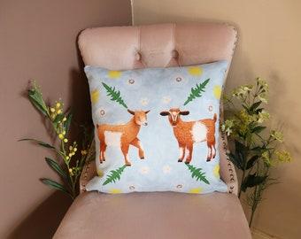 Goat Cushion Cover, Vegan-Suede Cushion, Animal Cushion, Goat Cushion