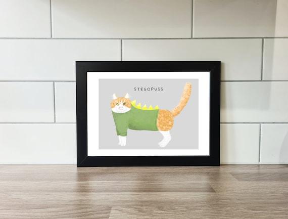 Stegopuss Print, Cats, wall art, A4 Print, A3 Print, Wall Decor, Illustration, Art Print by Rachel Gwen May