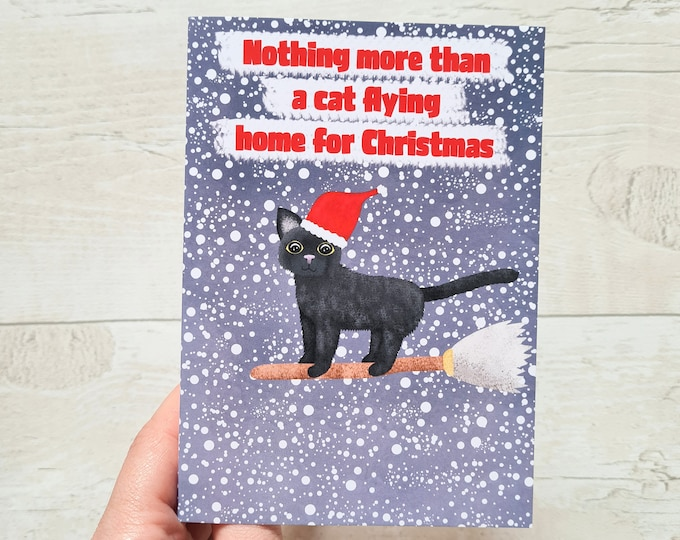 Cat Christmas Card, Misprint, Seconds, As is, Christmas Card, A6 in size (approx 105 x 148mm), Includes Envelope