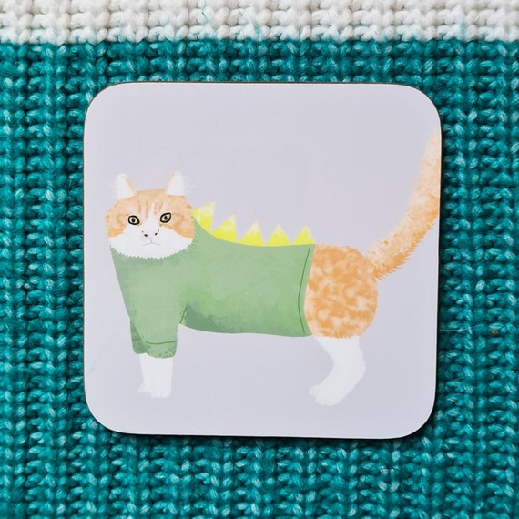 Stegopuss Coaster, Coaster, Drinks Coaster, Gifts for him, Gifts for her, Birthday Present, House Warming Present, Animal Coasters, Cat