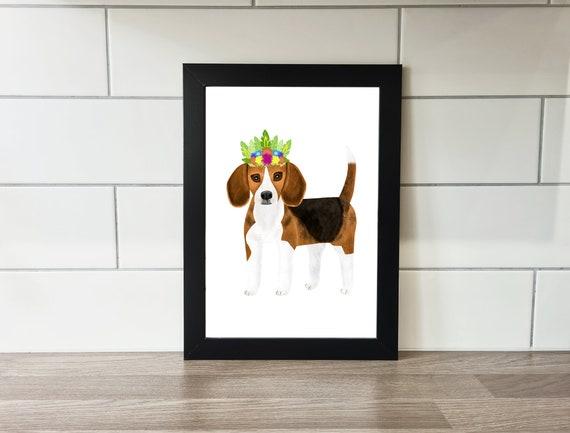 Beagle Print, Dogs, Wall Art, A4 Print, A3 Print, Wall Decor, Illustration, Art Print by Rachel Gwen May