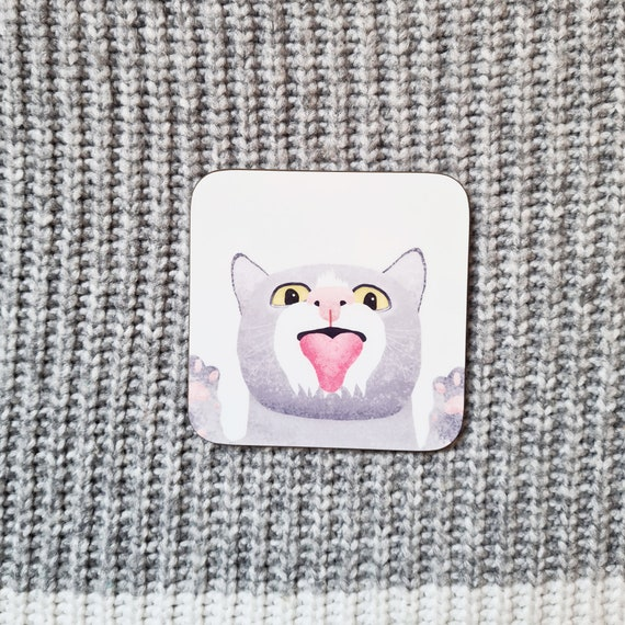 Cat Coaster, Coaster, Drinks Coaster, Gifts for him, Gifts for her, Birthday Present, House Warming Present, Animal Coasters, Cat