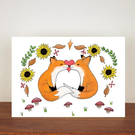 Love Foxes anniversary card, cards, greeting cards, love, valentines card, fox card, happy valentines day, love card, anniversary
