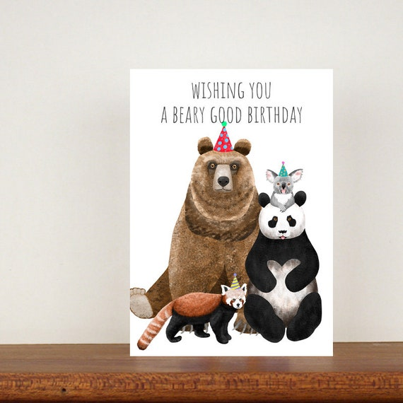 Wishing You A Beary Good Birthday Card, Card, Birthday Card, Panda Birthday Card, Koala Card, Bear Card, Red Panda Card, Friend Card