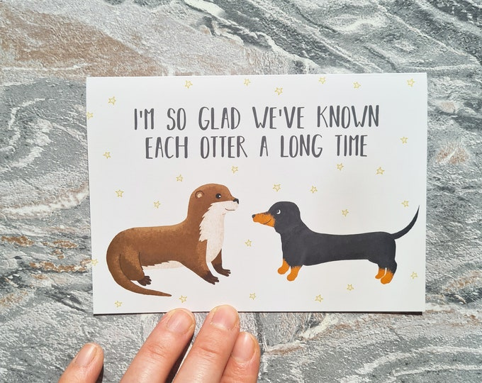 Otter and Dachshund Best Friend Card, Misprint, Seconds, As is, Best Friend Card, A6 in size (approx 105 x 148mm), Includes Envelope