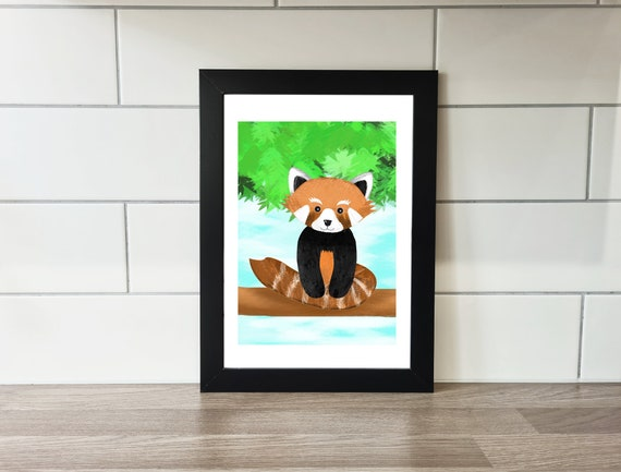 Red Panda Print, Red Panda, Wall Art, A4 Print, A3 Print, Wall Decor, Illustration, Art Print by Rachel Gwen May