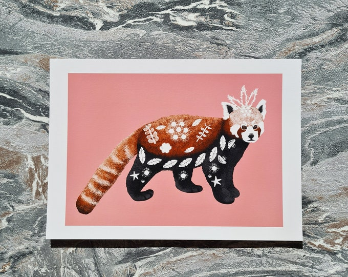 Red Panda Print, A5 Print, Misprint, Seconds, As Is, Reduced Price