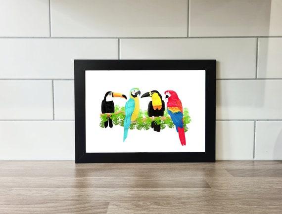 Parrot and Toucan Print, Parrot Print, Toucan Print, Wall Art, A4 Print, A3 Print, Wall Decor, Illustration, Art Print by Rachel Gwen May