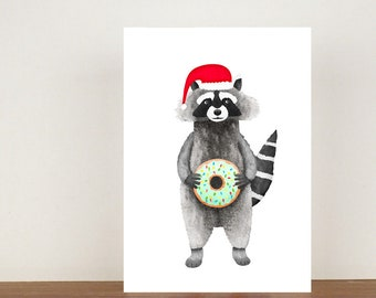 Raccoon Christmas Card, Raccoon, Raccoon Cards, Greeting Cards, Christmas Card, Raccoon Christmas Card, Animal Christmas Cards