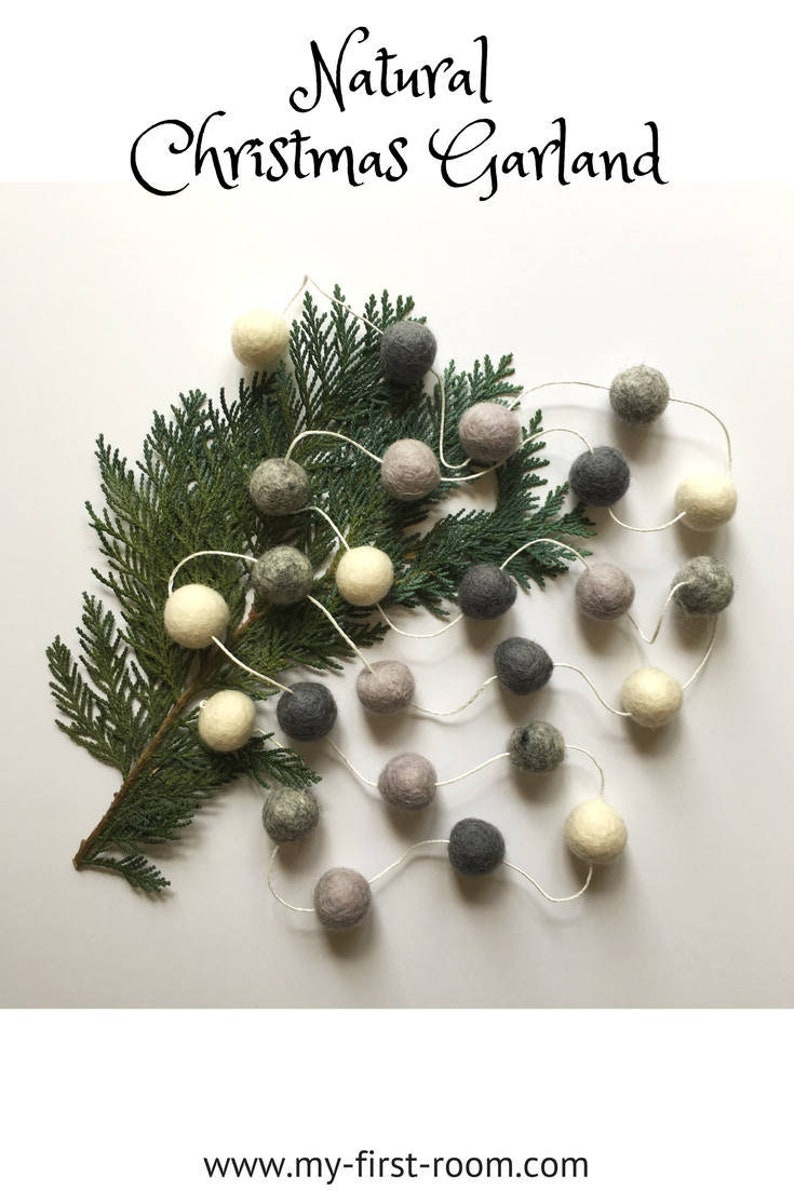 Natural Christmas Garland Felt Ball Garland Rustic Christmas Tree Decorations Xmas Natural Christmas Ornaments Winter Garland