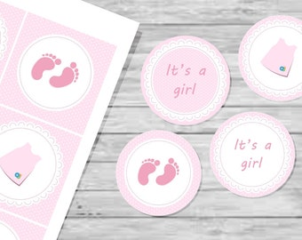 It's a girl printable tags, cupcake toppers, gift tags
