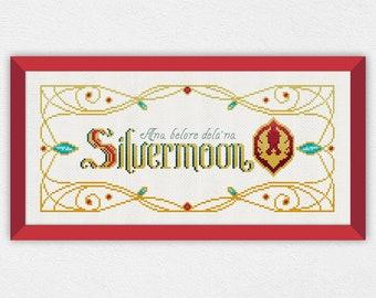 Silvermoon Banner | PDF Cross Stitch Chart / Pattern Digital Download | Horde - Banner - 8bit - blood elves