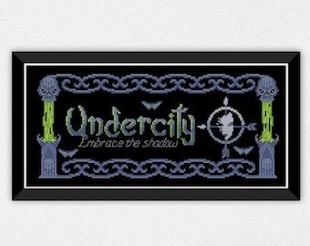 Underity Banner | PDF Cross Stitch Chart / Pattern Digital Download | Horde - Banner - 8bit - undead