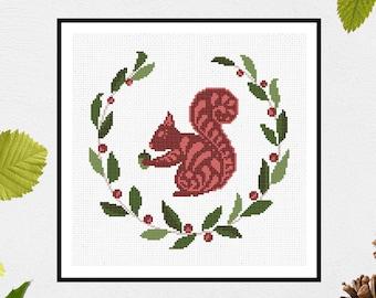 Folk Squirrel | PDF Cross Stitch Chart / Pattern Digital Download