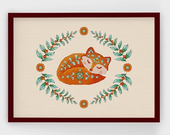 Folksy Fox in orange | PDF Cross Stitch Chart / Pattern