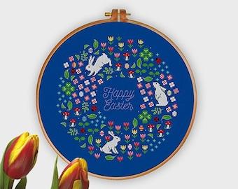 Spring Garden Wreath | PDF Cross Stitch Chart / Pattern | Rabbit - Flowers - mushroom - ladybug
