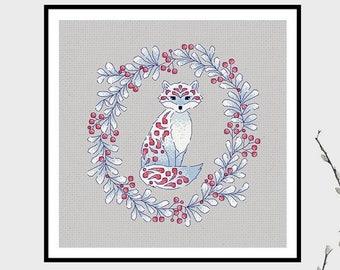 Arctic Fox | PDF Cross Stitch Chart / Pattern Icy, winter, berries