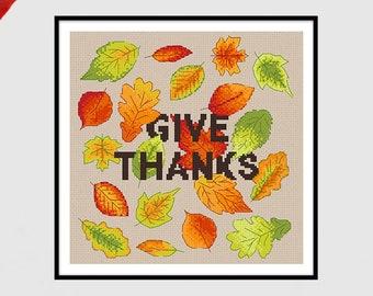 Give Thanks | PDF Cross Stitch Chart / Pattern | leaves - thanksgiving - autumn