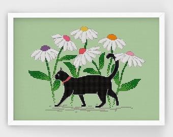 Black Cat Among Daisies | PDF Cross Stitch Pattern