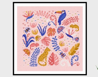 Tropical Jungle | PDF Cross Stitch Chart / Pattern Digital Download | Rainforest - Cheetah - chameleon - ferns - toucan
