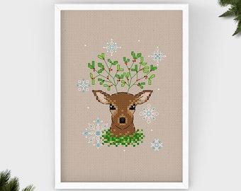Mistle-doe | PDF Cross Stitch Chart / Pattern Christmas - Winter - Deer - mistletoe