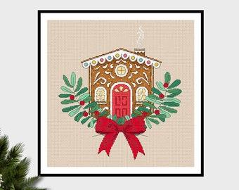 Gingerbread House Delight | PDF Cross Stitch Chart / Pattern Christmas - Winter - Wreath - cute
