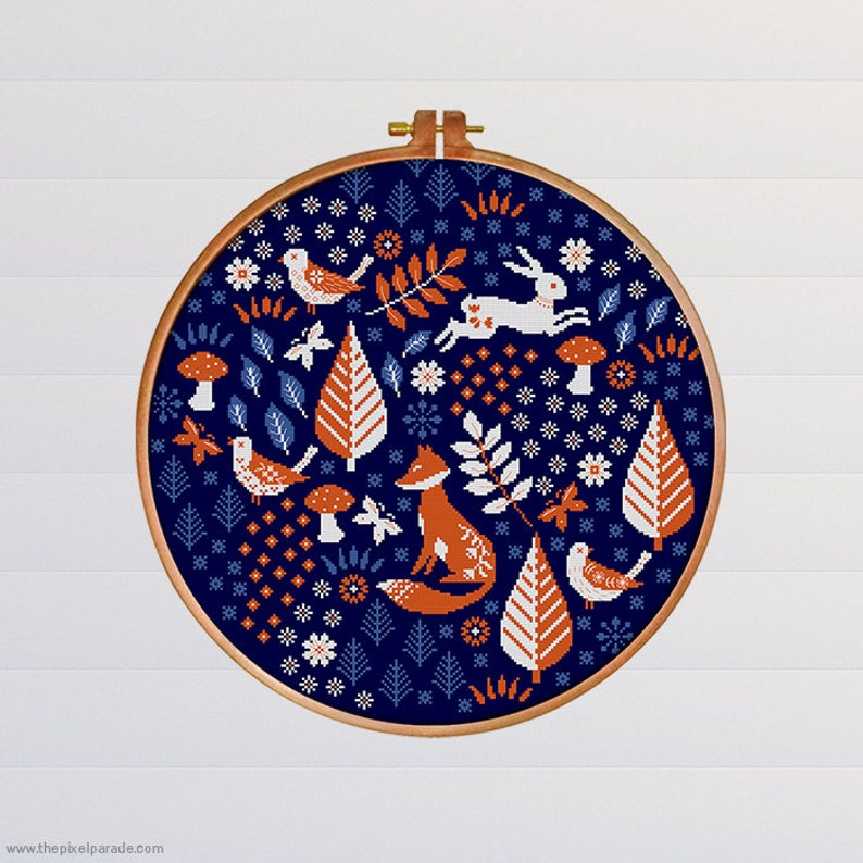 Scandi Forest Blues  PDF Cross Stitch Chart / Pattern  Fox  image 0