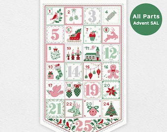 Advent Calendar SAL - All 7 parts | PDF Cross Stitch Chart pattern - Christmas - xmas - digital - stitch a long