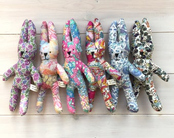 Six Liberty Print Lavender Rabbits, Easter bunnies, Six Party Favours for Rabbit Lovers, Fabric bunnies filled with lavender