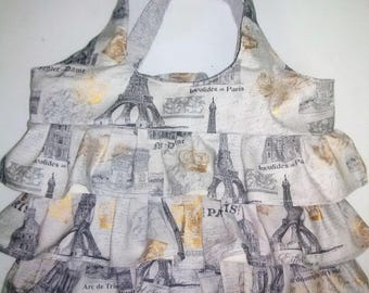 Grey Eiffel Tower Ruffle Bag