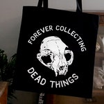 Cat Skull Tote Bag Taxidermy Illustration Screenprinted Design, 'DEAD THINGS', by Vector That Fox