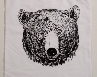 Illustrated Bear Screenprinted Tote Bag, by Vector That Fox