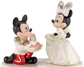 92794092fde0 Lenox Disney Wedding Cake Topper Figurine Minnie s Prince Charming