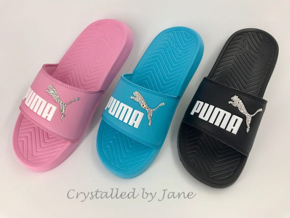 155144572a785 Puma Popcat Slides Sliders with crystal rhinestone logo