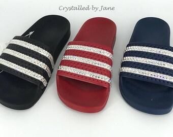 Crystal Embellished Adidas Adilette Slides - Black Red or Navy - UK sizes 3-12 - New Custom Genuine - Bling Sparkle Bedazzled