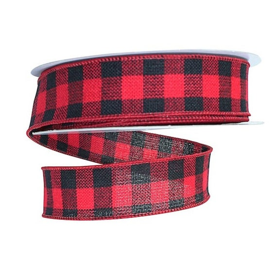 1-1//2-Inch Red//Black//Gold 10-Yard Flannel Plaid Wired Ribbon