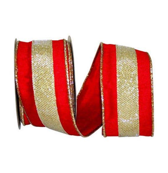 Red Dupioni Christmas Ribbon W/ A Gold Metallic Shimmer
