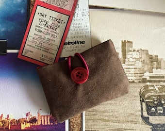Business Card holder, Travel Card Case, Card Holder, Gift Card holder,  Bus Pass Holder, Purse Organiser, Card Case, Chocolate Faux Suede,