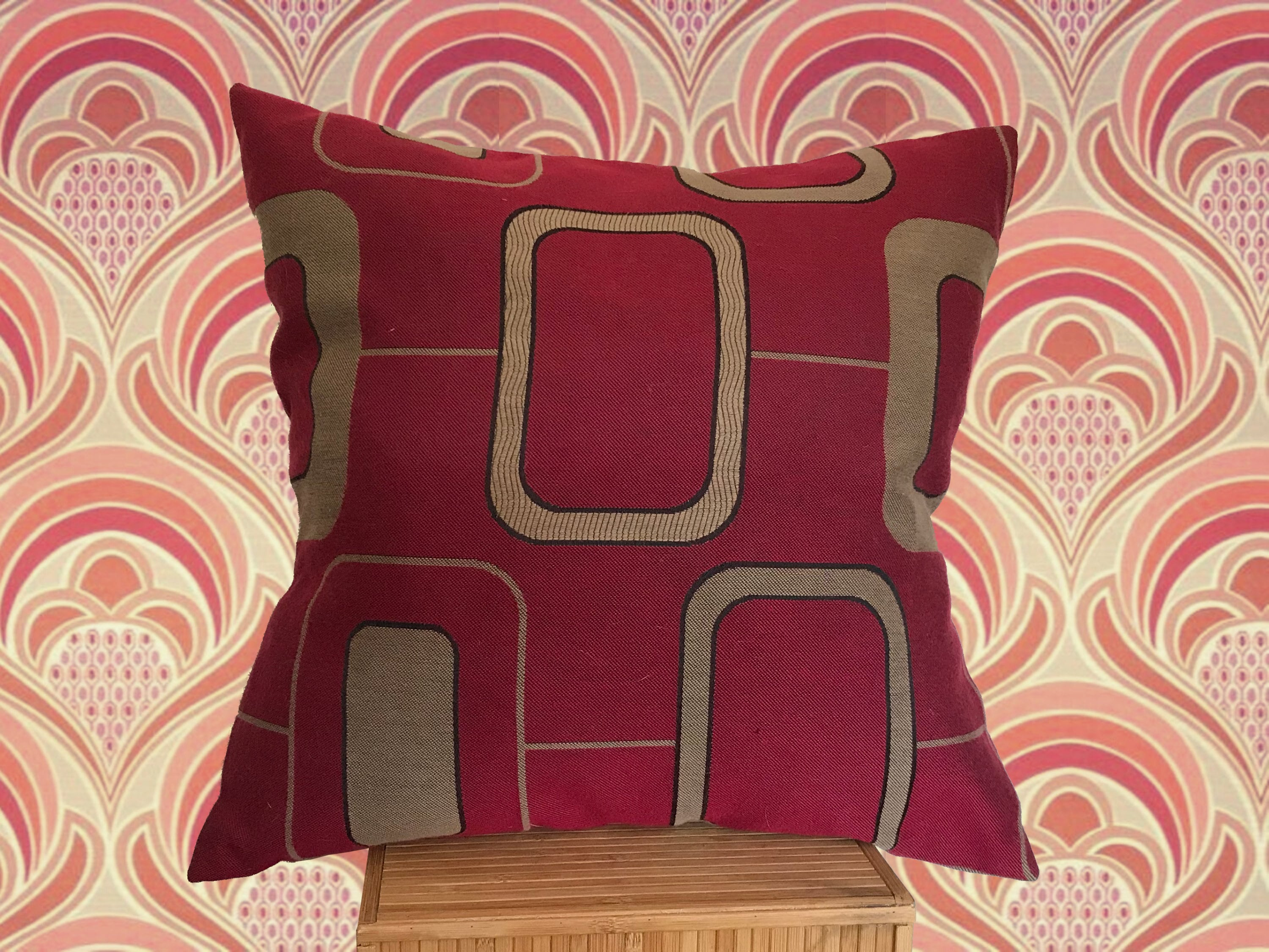 Retro 21s Design Cushion, Wine Red and Burnished Gold Geometric Pattern